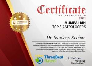 Certificate of excellence - Top 3 Astrologer